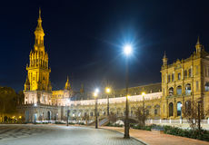 Night view of Plaza de Espana with tower. Seville Royalty Free Stock Photos