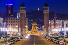 Night view of Plaza de Espana with Venetian towers Stock Photo