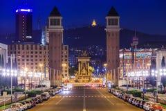 Night view of Plaza de Espana with Venetian towers Stock Photo