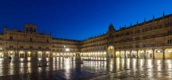 Night view of Plaza Mayor  in  Salamanca city. Spain Stock Photography