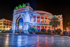 Night view of the Politeama Garibaldi theater in Palermo Royalty Free Stock Images
