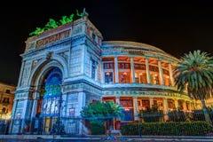 Night view of the Politeama Garibaldi theater in Palermo Stock Photography