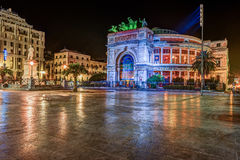Night view of the Politeama Garibaldi theater in Palermo Royalty Free Stock Photo