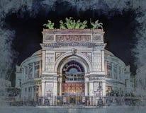 Night view of the Politeama Garibaldi theater in Palermo Royalty Free Stock Image