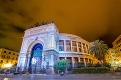 Night view of the Politeama Garibaldi theater in Palermo, Sicily, Italy. Stock Photography