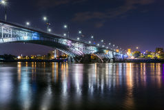 Night view of Poniatowski bridge Royalty Free Stock Photo