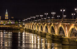 Night view of Pont de pierre in Bordeaux - Aquitaine, France stock image