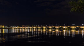 Night view of Pont de pierre in Bordeaux Royalty Free Stock Images