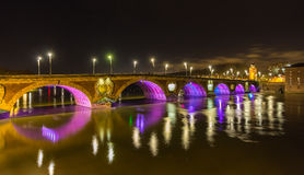 Night view of Pont Neuf in Toulouse - France Royalty Free Stock Images