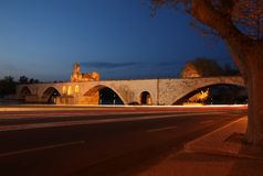 Night view of the Pont St. Benezet Stock Photography