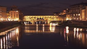 Night view of the Ponte Del Vecchio, Florence. Night view of the Ponte Del Vecchio in Florence, Italy stock video