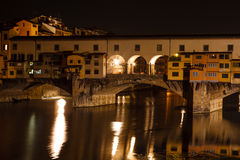 Night view of the Ponte Vecchio Royalty Free Stock Images