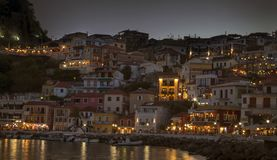 A beautiful paradise in Greece Parga night stock images