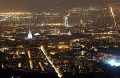 Night view of the populous European metropolis with many city li. Night aerial view of the populous European metropolis with many city lights Stock Photo