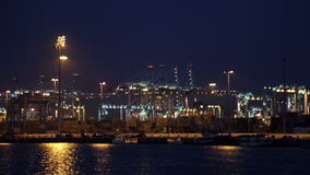 Night view of Port of Algeciras stock video footage