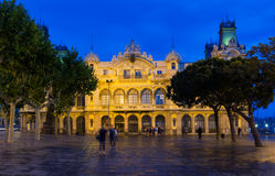 Night view of Port in Barcelona royalty free stock photography