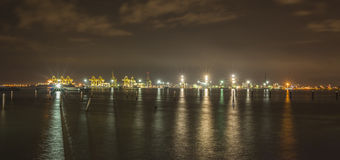 Night view of port cargo container terminal in Butterworth, Malaysia. Penang, Malaysia - Dec 13,2015 : Night view of port cargo container terminal in Butterworth Stock Photo