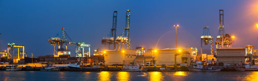 Night view of  Port. With cranes and containers. Algeciras, Spain Stock Images