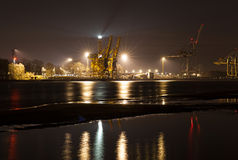 Night view of a port, industrial background Stock Image
