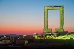Night view of Portara gate Stock Photography