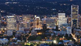 Night view of Portland, Oregon city center stock photo