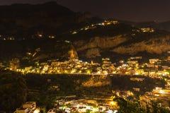 Night view of Positano Stock Photo