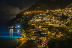 Night view of Positano town, Amalfi coast. stock images