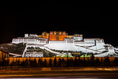 Night View of The Potala Palace Stock Images