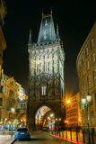 Night view of the Powder Tower or Powder Gate in Prague, Czech R Stock Image