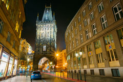 Night view of the Powder Tower or Powder Gate in Prague, Czech R Stock Photos