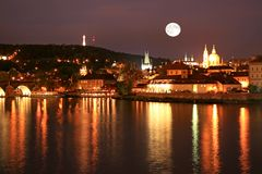 The night view of Prague Royalty Free Stock Photos