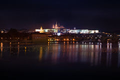 Night view of Prague Castle Royalty Free Stock Photography