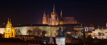 Night view of Prague Castle Stock Image