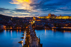 Night view of Prague, Charles Bridge, Vltava river Stock Photography