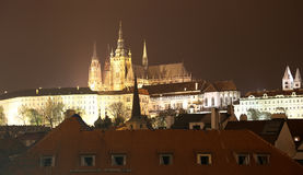 Night view of Prague, Czech Republic: Hradcany, castle and St. Vitus Cathedral. Royalty Free Stock Photo