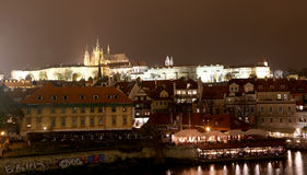 Night view of Prague, Czech Republic: Hradcany, castle and St. Vitus Cathedral. Stock Images