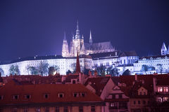 Night view of Prague, Czech Republic: Hradcany, castle and St. Vitus Cathedral Stock Image