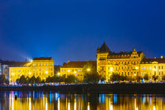 Night View Of Prague Embankment, Czech Republic. Reflection In Vltava River Stock Image