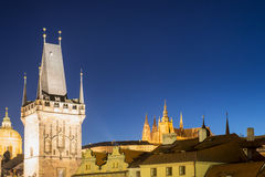 Night View on Prague Lesser Town with Cathedral, Bridge Tower an Stock Photography
