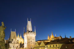 Night View on Prague Lesser Town with Cathedral, Bridge Tower an Stock Photo