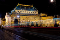 The night View on Prague National Theatre Royalty Free Stock Photography