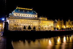 The night View on Prague National Theatre Royalty Free Stock Image