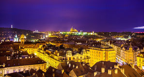 Night view of Prague from the Old Town Hall Royalty Free Stock Images