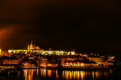Night view on Prague and Saint Vitus Cathedral Royalty Free Stock Photography