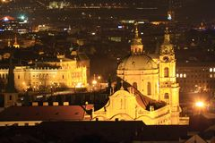 Night View on Prague St. Nicholas´ Cathedral Royalty Free Stock Photos