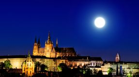 Night view of prague from the top Royalty Free Stock Photo