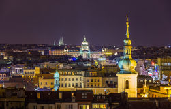 Night view from Prague town hall Royalty Free Stock Photo