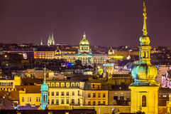 Night view from Prague Town Hall towards National Museum Royalty Free Stock Photos