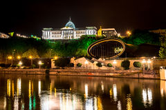 Night view of Presidential palace and music and drama theatre in Rike park Royalty Free Stock Photo