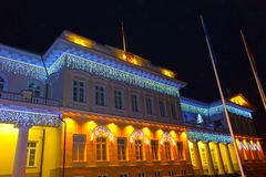 Night view of the Presidential Palace in Vilnius with christmas illumination, Lithuania royalty free stock photography